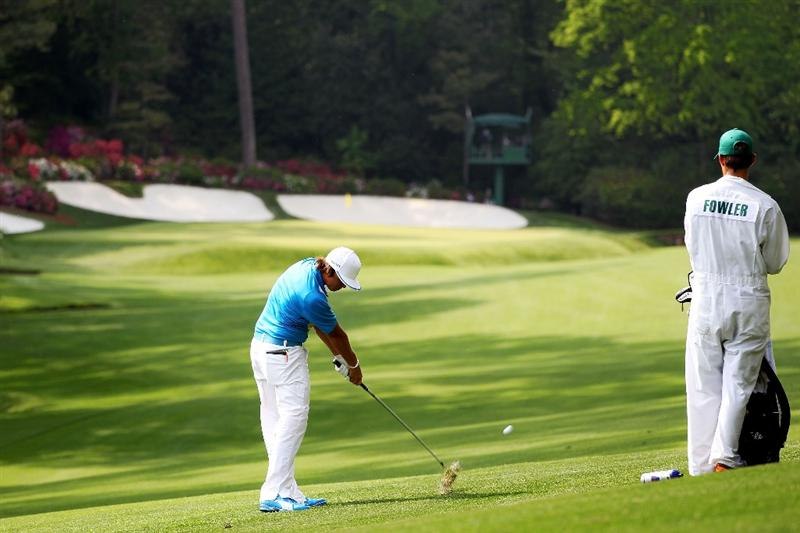 AUGUSTA, GA - APRIL 08:  Rickie Fowler hits his second shot on the 13th hole during the second round of the 2011 Masters Tournament at Augusta National Golf Club on April 8, 2011 in Augusta, Georgia.  (Photo by Jamie Squire/Getty Images)