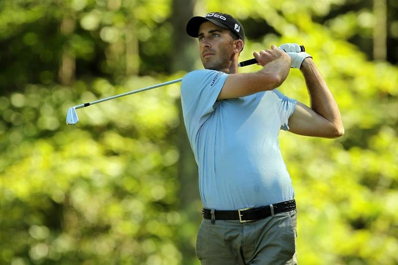 NORTON, MA - SEPTEMBER 06:  Geoff Ogilvy of Australia tees off on the eighth tee during the final round of the Deutsche Bank Championship at TPC Boston on September 6, 2010 in Norton, Massachusetts.  (Photo by Mike Ehrmann/Getty Images)