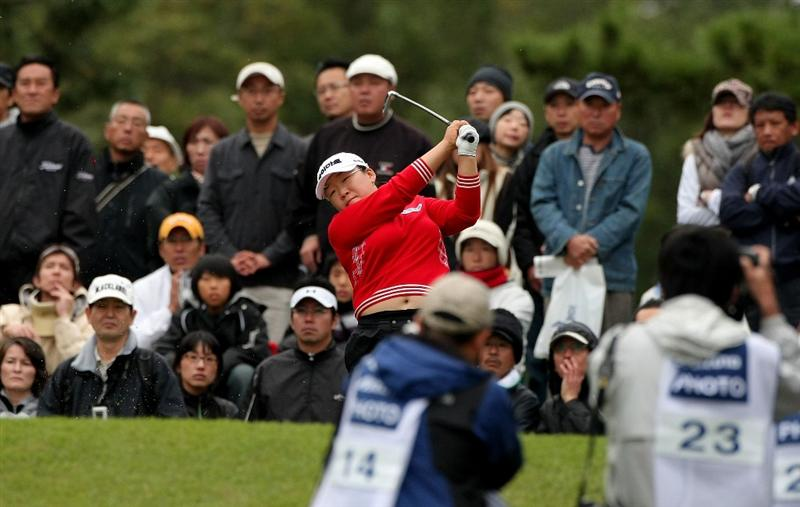 SHIMA, JAPAN - NOVEMBER 09: Ji-Yai Shin of South Korea makes a tee shot on the 8th hole during the final round of 2008 Mizuno Classic at Kintetsu Kashikojima Country Club on November 9, 2008 in Shima, Mie, Japan. (Photo by Koichi Kamoshida/Getty Images)