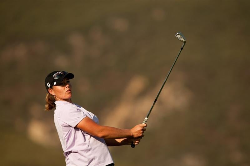DANVILLE, CA - OCTOBER 14: Katherine Hull of Australia watches a tee shot during the first round of the CVS/Pharmacy LPGA Challenge at Blackhawk Country Club on October 14, 2010 in Danville, California. (Photo by Darren Carroll/Getty Images)