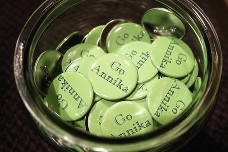 FT. WORTH, TX - MAY 21:  'Go Annika' pins are offered in the Colonial Country Club golf shop to support Annika Sorenstam of Sweden as she gets set to play in the Bank of America Colonial at the Colonial Country Club on May 21, 2003 in Ft. Worth, Texas.  (Photo by Scott Halleran/Getty Images)