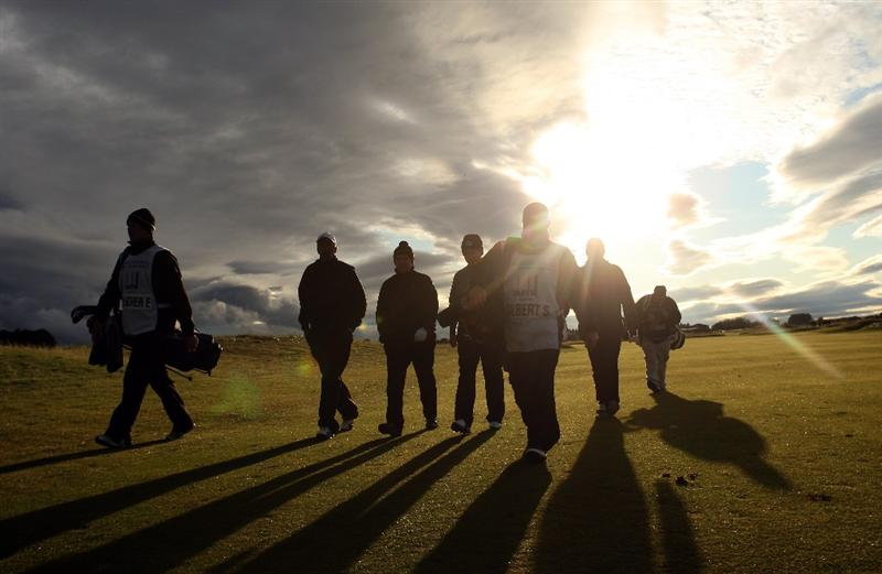 CARNOUSTIE, UNITED KINGDOM - OCTOBER 04: Players walk up the 18th fairway during the third round of The Alfred Dunhill Links Championship at Carnoustie Golf Club on October 4, 2008 in Carnoustie, Scotland. (Photo by Warren Little/Gettyimages)