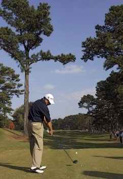 Bart Bryant hitting off the tee during the second round of the TOUR Championship at East Lake Golf Club in Atlanta, Georgia on November 4, 2005.Photo by Sam Greenwood/WireImage.com