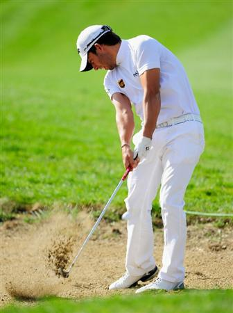 VIENNA, AUSTRIA - SEPTEMBER 18:  Pablo Larrazabal of Spain plays his approach shot on the third hole during the third round of the Austrian golf open presented by Botarin at the Diamond country club on September 18, 2010 in Atzenbrugg near Vienna, Austria.  (Photo by Stuart Franklin/Getty Images)