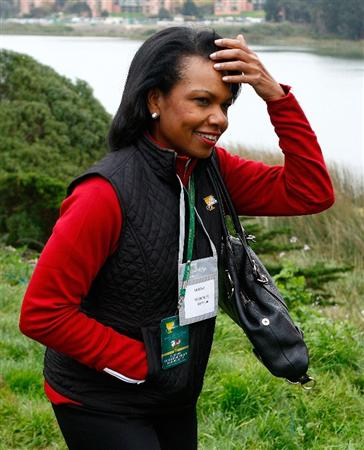 SAN FRANCISCO - OCTOBER 11:  Condoleezza Rice watches the play on the 13th hole during the Final Round Singles Matches of The Presidents Cup at Harding Park Golf Course on October 11, 2009 in San Francisco, California.  (Photo by Scott Halleran/Getty Images)