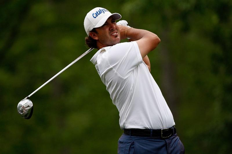 HUMBLE, TX - APRIL 04:  Scott Piercy tees off on the 2nd hole during the third round of the Shell Houston Open at Redstone Golf Club April 4, 2009 in Humble, Texas.  (Photo by Chris Graythen/Getty Images)