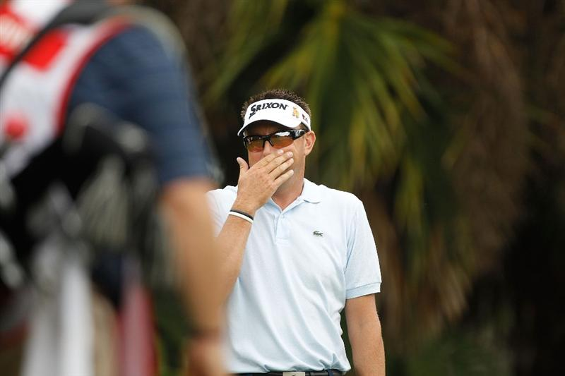 DORAL, FL - MARCH 12:  Robert Allenby of Australia celebrates his hole in one on the 13th hole during round two of the 2010 WGC-CA Championship at the TPC Blue Monster at Doral on March 12, 2010 in Doral, Florida.  (Photo by Scott Halleran/Getty Images)