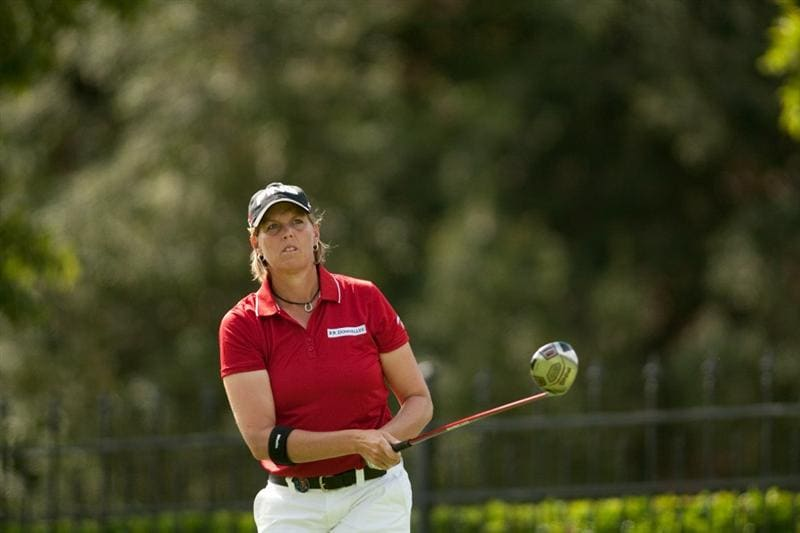 DANVILLE, CA - OCTOBER 16: Wendy Ward watches a tee shot during the third round of the CVS/Pharmacy LPGA Challenge at Blackhawk Country Club on October 16, 2010 in Danville, California. (Photo by Darren Carroll/Getty Images)