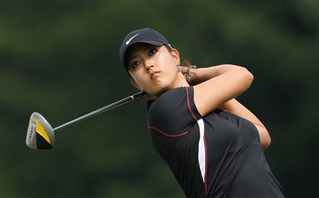 MUNICH, GERMANY - MAY 29:  Michel Wie of USA plays her tee shot on the fifth hole during the first round of the Hypovereinsbank Ladies German Open Golf at Golfpark Gut Hausern on May 29, 2008 near Munich, Germany.  (Photo by Stuart Franklin/Bongarts/Getty Images)