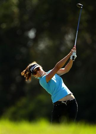 MELBOURNE, AUSTRALIA - MARCH 12:  Stefanie Michl of Austria plays a fairway wood on the sixth hole during round two of the 2010 Women's Australian Open at The Commonwealth Golf Club on March 12, 2010 in Melbourne, Australia.  (Photo by Mark Dadswell/Getty Images)