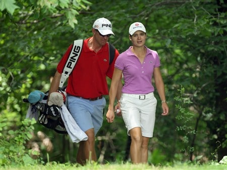 HAVRE DE GRACE, MD - JUNE 04:  Lorena Ochoa of Mexico walks to her tee shot at the par 4, 4th hole with her caddie Dave Brooker during practice for the 2008 McDonald's LPGA Championship held at Bulle Rock Golf Course, on June 4, 2008 in Havre de Grace, Maryland.  (Photo by David Cannon/Getty Images)