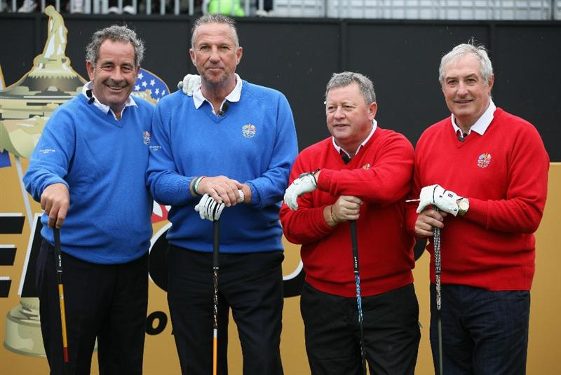 NEWPORT, WALES - SEPTEMBER 29:  (L-R) Sam Torrance, Sir Ian Botham, Ian Woosnam and Gareth Edwards pose during a Past Captains round prior to the 2010 Ryder Cup at the Celtic Manor Resort on September 29, 2010 in Newport, Wales.  (Photo by Jamie Squire/Getty Images)