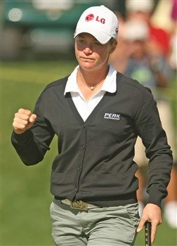 REUNION, FLORIDA - APRIL 19:  Suzann Pettersen of Norway celebrates after a birdie on the second hole during the third round of the Ginn Open at Reunion Resort April 19, 2008 in Reunion, Florida.  (Photo by Scott Halleran/Getty Images)
