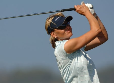 Liselotte Neumann hits from the 11th tee during the second round of the 2005 Office Depot Championship at Trump National Golf Club Los Angeles in Rancho Palos Verdes, California October 1, 2005.Photo by Steve Grayson/WireImage.com
