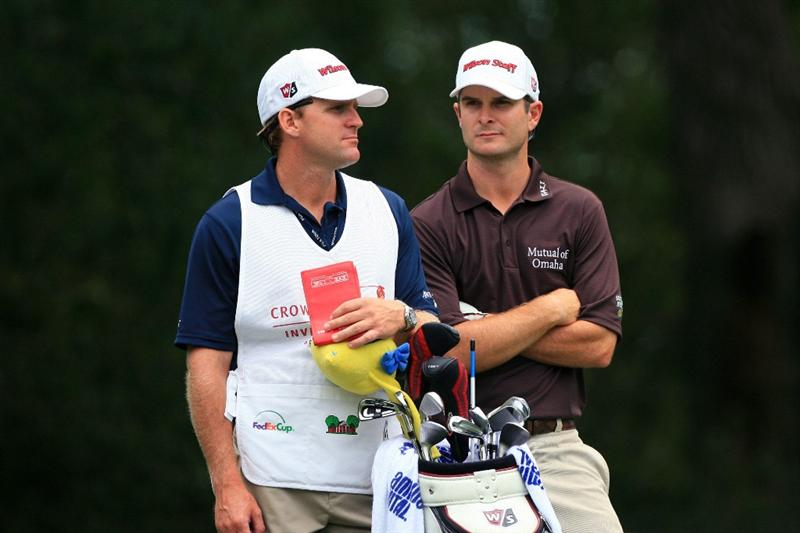 FT. WORTH, TX - MAY 19: Kevin Streelman stands with his caddie on the 12th tee during the first round of the Crowne Plaza Invitational at Colonial Country Club on May 19, 2011 in Ft. Worth, Texas. (Photo by Hunter Martin/Getty Images)