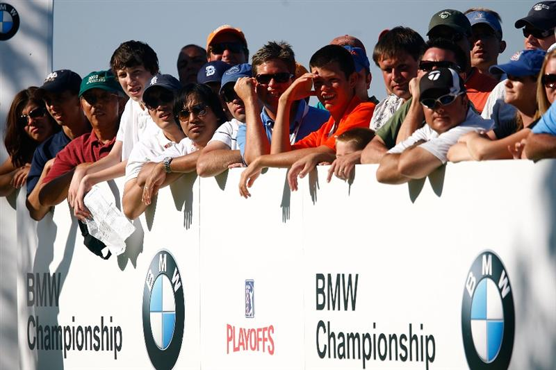 LEMONT, IL - SEPTEMBER 13:  Golf fans watch the play on the 17th hole during the final round of the BMW Championship held at Cog Hill Golf & CC on September 13, 2009 in Lemont, Illinois.  (Photo by Scott Halleran/Getty Images)