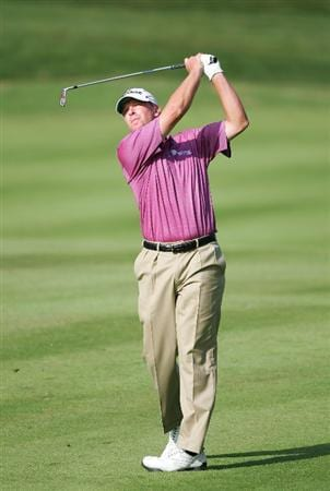 NORTON, MA - SEPTEMBER 07: Steve Stricker hits his second shot on the 12th hole during the final round of the Deutsche Bank Championship at TPC Boston held on September 7, 2009 in Norton, Massachusetts.  (Photo by Michael Cohen/Getty Images)