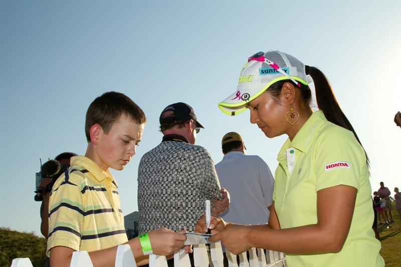 PRATTVILLE, AL - OCTOBER 8: Ai Miyazato of Japan signs autographs following the second round of the Navistar LPGA Classic at the Senator Course at the Robert Trent Jones Golf Trail  on October 8, 2010 in Prattville, Alabama. (Photo by Darren Carroll/Getty Images)