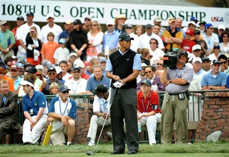 SAN DIEGO - JUNE 14:  Tiger Woods waits on the first tee during the third round of the 108th U.S. Open at the Torrey Pines Golf Course (South Course) on June 14, 2008 in San Diego, California.  (Photo by Harry How/Getty Images)