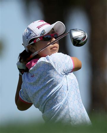 RANCHO MIRAGE, CA - APRIL 03:  Mika Miyazato of Japan hits her tee shot on the third hole during the final round of the Kraft Nabisco Championship at Mission Hills Country Club on April 3, 2011 in Rancho Mirage, California.  (Photo by Stephen Dunn/Getty Images)