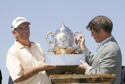 Jay Haas receives the trophy from Ted Kelly of Liberty Mutual after winning the Legends Division at the Liberty Mutual Legends of Golf held at Westin Savannah Harbor Golf Resort & Spa in Savannah, Georgia, on April 22, 2007. Photo by: Chris Condon/PGA TOURPhoto by: Chris Condon/PGA TOUR