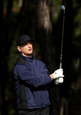 PEBBLE BEACH, CA - FEBRUARY 13:  Comedian Bill Murray watches his tee shot on the 11th hole during the second round of the AT&T Pebble Beach National Pro-Am at Poppy Hills Golf Course on February 13, 2009 in Pebble Beach, California.  (Photo by Stephen Dunn/Getty Images)