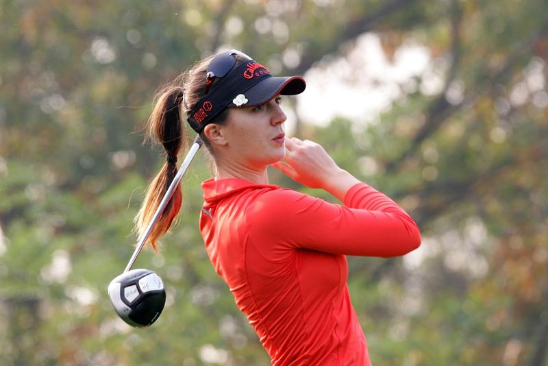 INCHEON, SOUTH KOREA - OCTOBER 30:  Sandra Gal of Germany hits a teeshot in the 11th hole during round one of Hana Bank Kolon Championship at Sky 72 Golf Club on October 30, 2009 in Incheon, South Korea.  (Photo by Chung Sung-Jun/Getty Images)