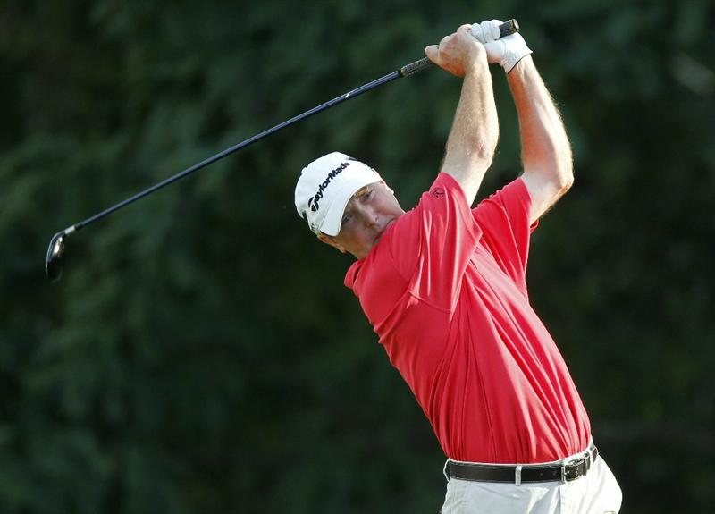 CANONSBURG, PA - SEPTEMBER 03:  Geoffrey Sisk watches his tee shot on the ninth hole during the second round of the Mylan Classic presented by CONSOL Energy at Southpointe Golf Club on September 3, 2010 in Canonsburg, Pennsilvania.  (Photo by Gregory Shamus/Getty Images)