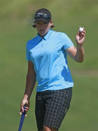 PRATTVILLE, AL - OCTOBER 1:  Katherine Hull of Australia waves after completing her first round play in the Navistar LPGA Classic at the Robert Trent Jones Golf Trail at Capitol Hill on October 1, 2009 in  Prattville, Alabama.  (Photo by Dave Martin/Getty Images)