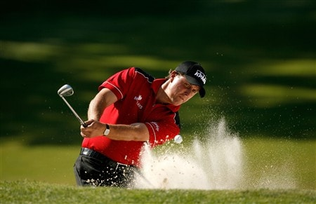 CHARLOTTE, NC - MAY 02:  Phil Mickelson hits a shot from the sand on the 16th hole during the second round of the Wachovia Championship at Quail Hollow Country Club on May 2, 2008 in Charlotte, North Carolina.  (Photo by Streeter Lecka/Getty Images)