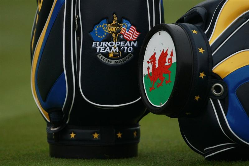 NEWPORT, WALES - SEPTEMBER 28:  General detail of European Team golf bags showing the Welsh flag during a practice round prior to the 2010 Ryder Cup at the Celtic Manor Resort on September 28, 2010 in Newport, Wales. (Photo by Scott Halleran/Getty Images)