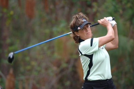 Rosie Jones drives from the third tee during the first round of the 2005 Mitchell Company Tournament of Champions November 10 in Mobile.Photo by Al Messerschmidt/WireImage.com