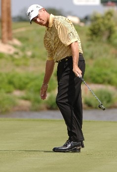 Gary Koch follows his putt on the 17th green during the second  round of the 2005 Liberty Mutual Legends of Golf tournament in Savannah, GA, April 23, 2005.Photo by Al Messerschmidt/WireImage.com