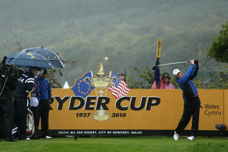 NEWPORT, WALES - OCTOBER 01:  Martin Kaymer of Europe tees off on the fourth hole during the Morning Fourball Matches during the 2010 Ryder Cup at the Celtic Manor Resort on October 1, 2010 in Newport, Wales.  (Photo by Ross Kinnaird/Getty Images)