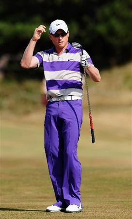ZANDVOORT, NETHERLANDS - AUGUST 23:  Simon Dyson of England reacts to his approach shot on the 13th hole during the final round of The KLM Open at Kennemer Golf & Country Club on August 23, 2009 in Zandvoort, Netherlands.  (Photo by Stuart Franklin/Getty Images)
