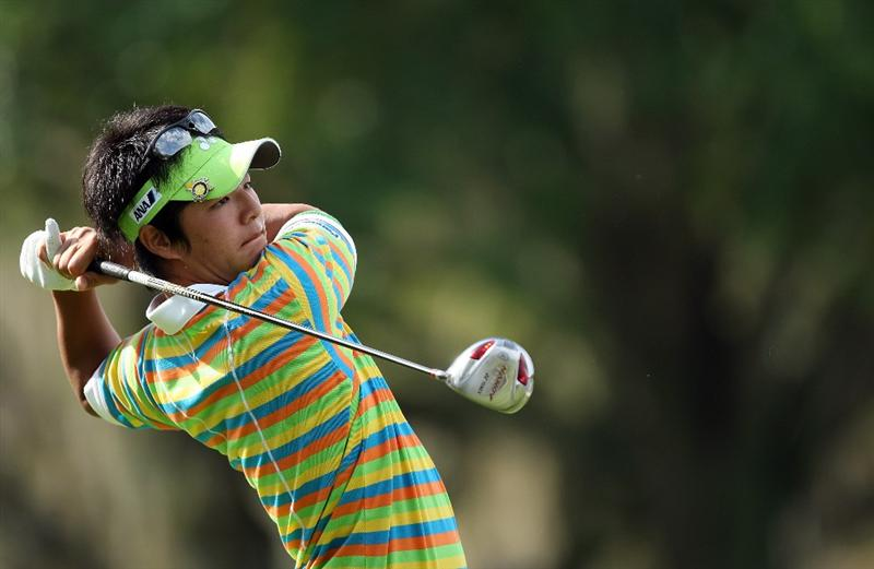 ORLANDO, FL - MARCH 27:  Ryo Ishikawa of Japan plays his tee shot at the 12th hole during the second round of the Arnold Palmer Invitational Presented by Mastercard at the Bay Hill Club and Lodge on March 27, 2009 in Orlando, Florida  (Photo by David Cannon/Getty Images)