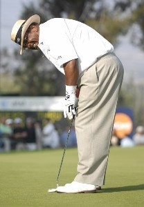 Jim Thorpe reacts to a missed birdie attempt during the final round of the Champion's Tour 2007 AT&T Champions Classic at the Valencia Country Club in Santa Clarita, California on March 18, 2007. Champions Tour - 2007 AT&T Champions Classic - Final RoundPhoto by Steve Grayson/WireImage.com