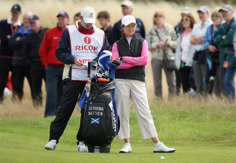 LYTHAM ST ANNES, ENGLAND - JULY 31:  Catriona Matthew of Scotland waits with her caddie on the 15th hole during the second round of the 2009 Ricoh Women's British Open Championship held at Royal Lytham St Annes Golf Club, on July 31, 2009 in  Lytham St Annes, England.  (Photo by David Cannon/Getty Images)