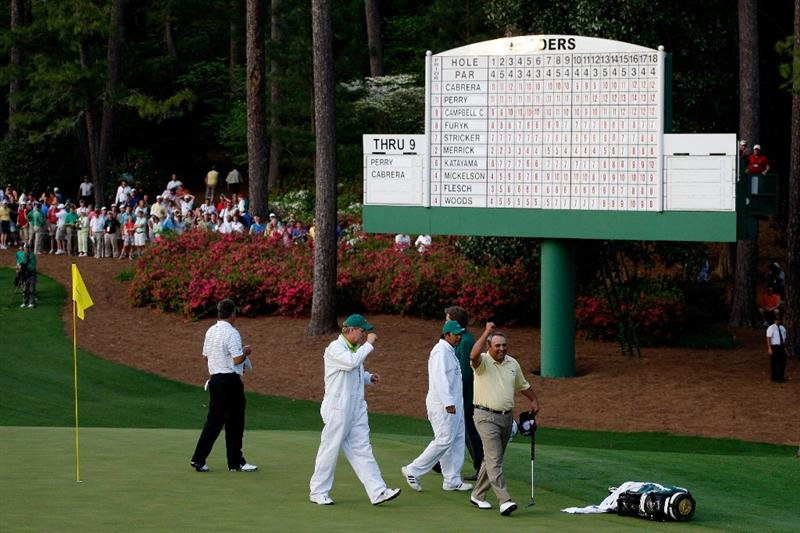 AUGUSTA, GA - APRIL 12:  Angel Cabrera of Argentina celebrates after defeating Kenny Perry on the second sudden death playoff hole to win the 2009 Masters Tournament at Augusta National Golf Club on April 12, 2009 in Augusta, Georgia.  (Photo by Jamie Squire/Getty Images)
