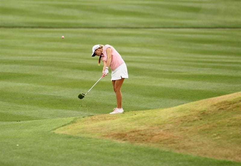 PHOENIX, AZ - MARCH 20:  Paula Creamer hits her third shot on the 11th hole during the final round of the RR Donnelley LPGA Founders Cup at Wildfire Golf Club on March 20, 2011 in Phoenix, Arizona.  (Photo by Stephen Dunn/Getty Images)