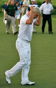 Daniel Chopra reacts after his final putt to win in extra playoff holes after the fourth round of the Mercedes-Benz Championship at the Plantation Course at Kapalua on January 6, 2008 in Kapalua, Maui, Hawaii. PGA TOUR - 2008 Mercedes-Benz Championship - Final RoundPhoto by Stan Badz/PGA TOUR/WireImage.com