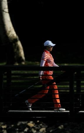 CARLSBAD, CA - MARCH 26:  Hee Kyung Seo of South Korea walks across a bridge on the sixth hole during the second round of the Kia Classic Presented by J Golf at La Costa Resort and Spa on March 26, 2010 in Carlsbad, California.  (Photo by Stephen Dunn/Getty Images)