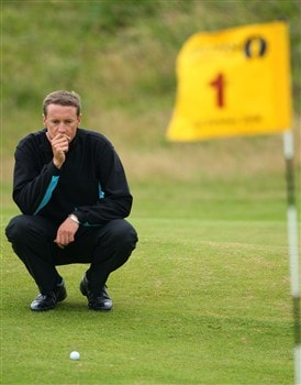 SOUTHPORT, UNITED KINGDOM - JULY 18:  Peter Appleyard of England lines up as putt on the 1st during the second round of the 137th Open Championship on July 18, 2008 at Royal Birkdale Golf Club, Southport, England.  (Photo by Stuart Franklin/Getty Images)
