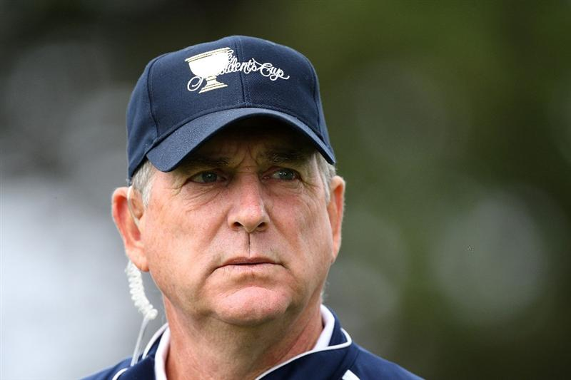 SAN FRANCISCO - OCTOBER 08:  USA Team assistant captain Jay Haas watches the play during the Day One Foursome Matches of The Presidents Cup at Harding Park Golf Course on October 8, 2009 in San Francisco, California.  (Photo by David Cannon/Getty Images)