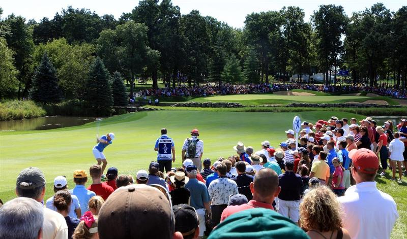 SUGAR GROVE, IL - AUGUST 23: Helen Alfredsson of Sweden on the 7th hole during the Sunday singles matches at the 2009 Solheim Cup Matches, at the Rich Harvest Farms Golf Club on August 23, 2009 in Sugar Grove, Ilinois (Photo by David Cannon/Getty Images)