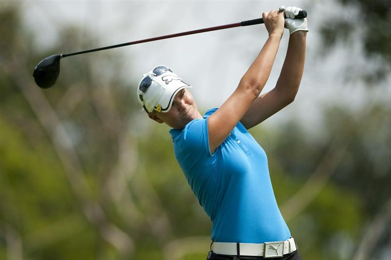 CHON BURI, THAILAND - FEBRUARY 18:  Lee-Anne Pace of South Africa tees off on the 2nd hole during day two of the LPGA Thailand at Siam Country Club on February 18, 2011 in Chon Buri, Thailand.  (Photo by Victor Fraile/Getty Images)