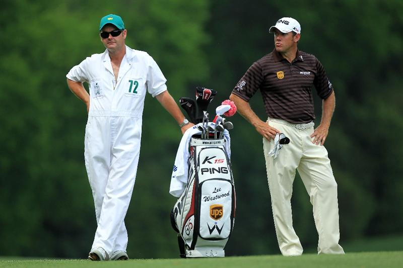 AUGUSTA, GA - APRIL 08:  Lee Westwood of England waits with his caddie Billy Foster on the fifth hole during the second round of the 2011 Masters Tournament at Augusta National Golf Club on April 8, 2011 in Augusta, Georgia.  (Photo by David Cannon/Getty Images)