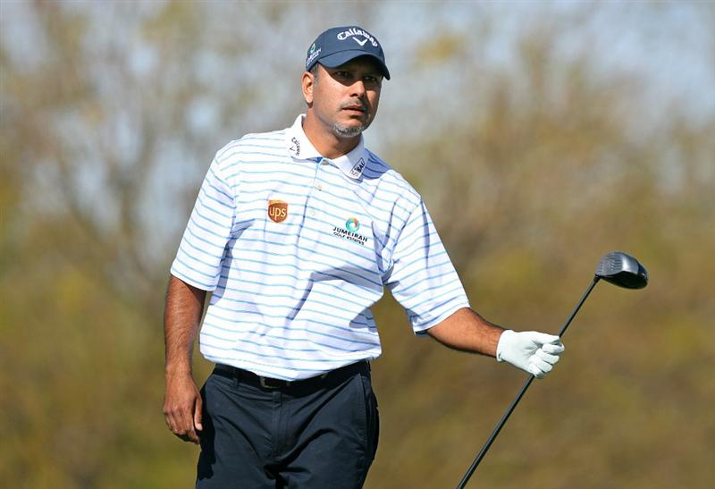 SCOTTSDALE, AZ - FEBRUARY 26: Jeev Milkha Singh of India watches his tee shot on the ninth hole during the second round of the Waste Management Phoenix Open at TPC Scottsdale on February 26, 2010 in Scottsdale, Arizona. (Photo by Hunter Martin/Getty Images)