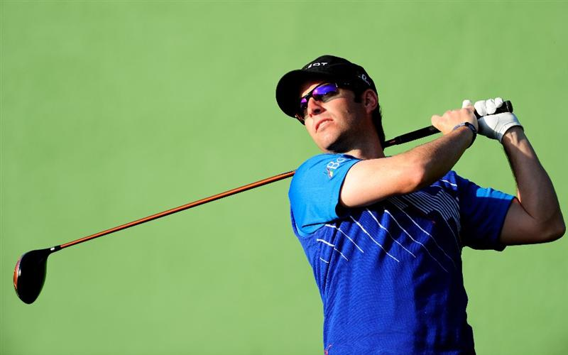 MALLORCA, SPAIN - MAY 16:  Mark Tullo of Chile plays a tee shot during the final round of the Open Cala Millor Mallorca at Pula golf club on May 16, 2010 in Mallorca, Spain.  (Photo by Stuart Franklin/Getty Images)