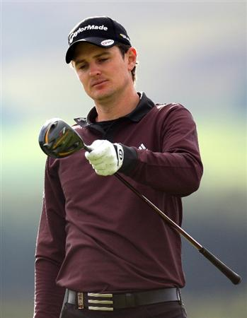 PERTH, UNITED KINGDOM - AUGUST 29:  Justin Rose of England on the par five 12th hole during the second round of The Johnnie Walker Championship at Gleneagles on August 29, 2008 at the Gleneagles Hotel and Resort in Perthshire, Scotland.  (Photo by Ross Kinnaird/Getty Images)